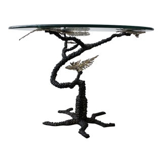1970s Regency Brutalist Style Torch Cut Bronze Tree Table For Sale