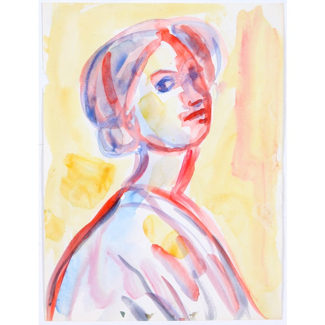 Red & Yellow Watercolor Portrait of Woman - Image 2 of 4
