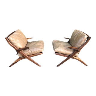 Mid-Century Sculptural Leather Lounge Chairs - A Pair
