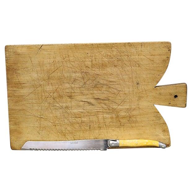 French Bread Board W/ Languiole Bread Knife For Sale