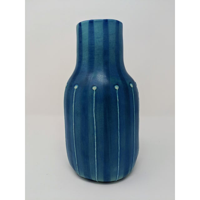 Jonathan Adler Inspired Handmade Mid-Century Modern Stripped and Dotted Blue Vase For Sale - Image 9 of 12