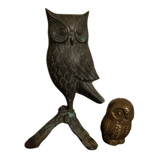 Early 20th Century Antique Solid Brass Owl Figurines - A Pair For Sale