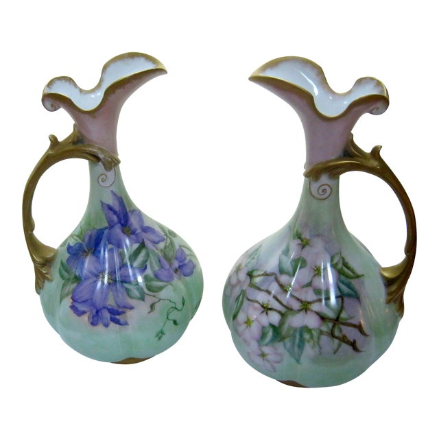 Antique Hand Painted Unsigned Limoges Ewers - A Pair - Image 1 of 8