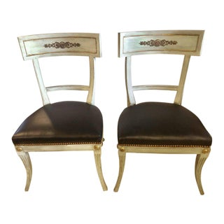 Hollywood Regency Painted with Bronze Mounts Side or Office Chairs - a Pair For Sale