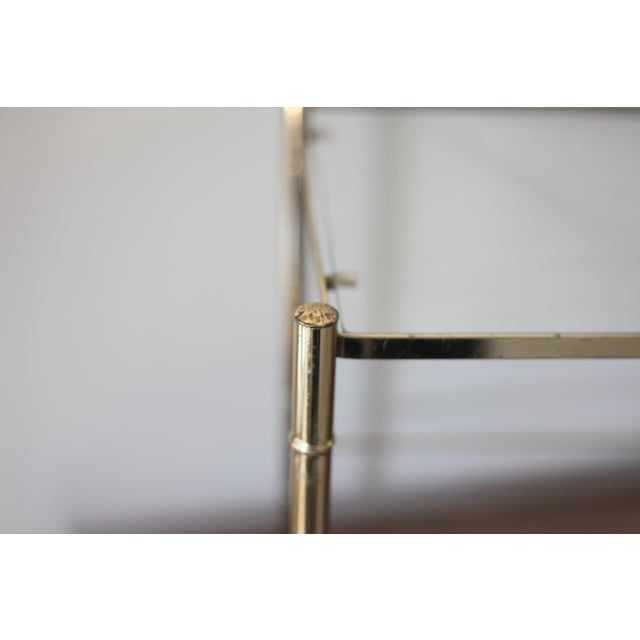 Vintage Brass Faux Bamboo Side Table - Image 4 of 7