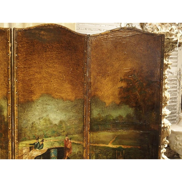 Antique Painted English Four Panel Leather Screen, 19th Century For Sale - Image 4 of 13