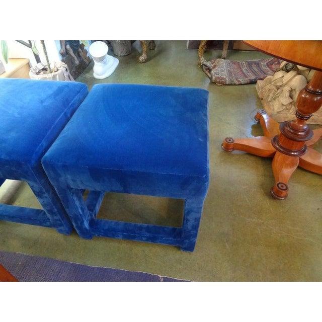 Blue Vintage Milo Baughman Style Parsons Ottomans - a Pair For Sale - Image 8 of 13