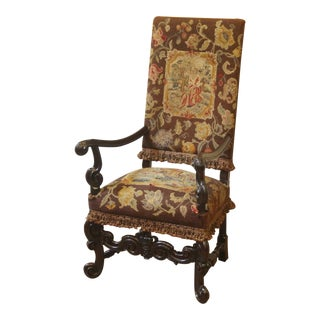 Antique 19th Century Needlepoint Grand Hall Arm Chair For Sale