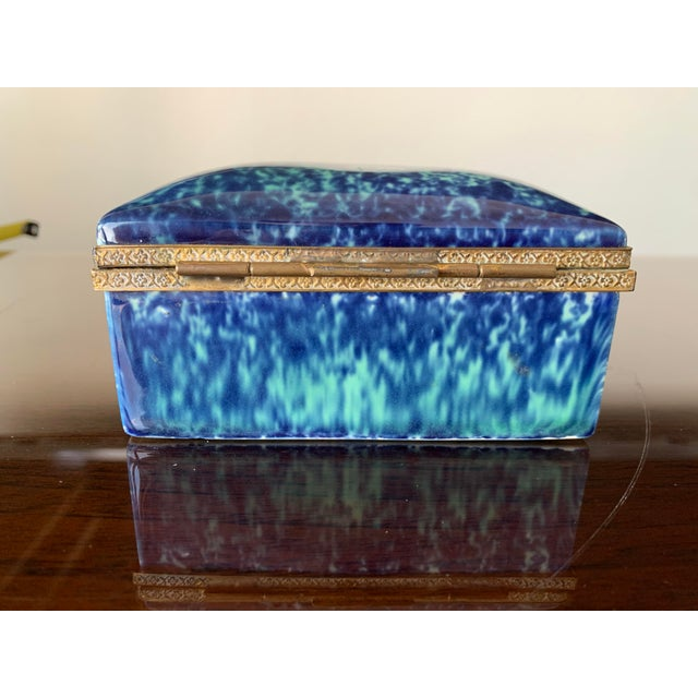 Vintage Blue Fine China Box With Gold Trim For Sale - Image 4 of 12