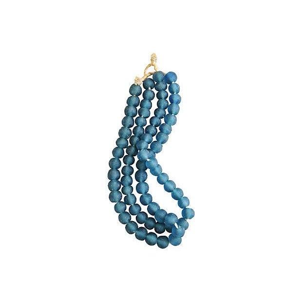 Steel Blue Jumbo Sea Glass Bead Strands - a Pair - Image 4 of 4
