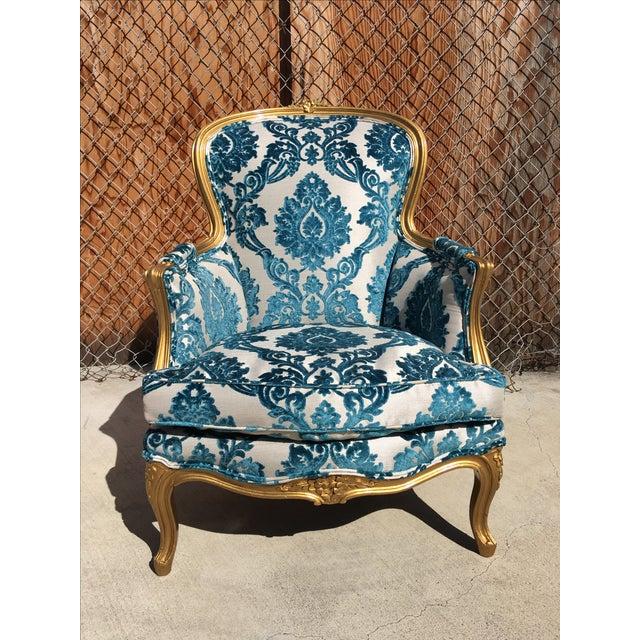 Victorian Gold Leaf & Velvet Chair - Image 2 of 7