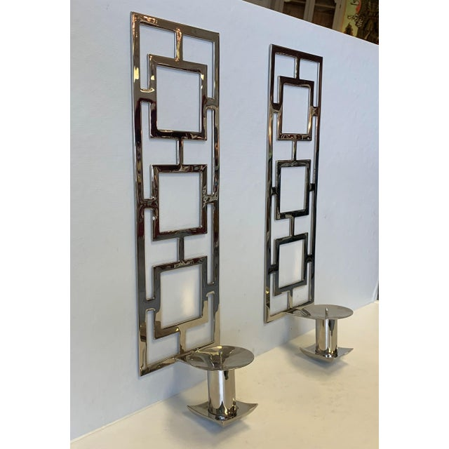 Modern Modern Chrome Wall Sconces - a Pair For Sale - Image 3 of 10