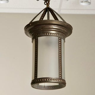 Antique English Hanging Bronze and Frosted Glass Hall Lantern Preview