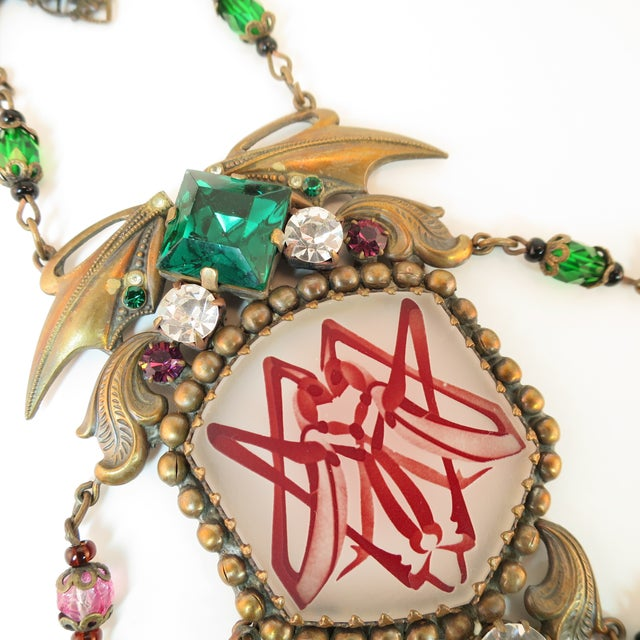 Rose Massive Czech Art Deco Egyptian Revival Painted Glass & Crystal Necklace 1920s For Sale - Image 8 of 12