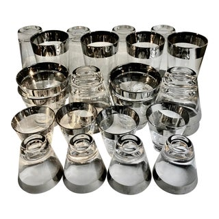 Mid 20th Century Dorothy Thorpe Style Silver Rim Glasses - Set of 24 For Sale