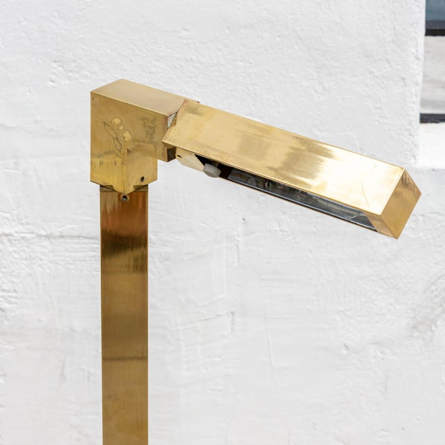 1970s 1970s Modernist Brass Articulating Floor Lamp by Chapman For Sale - Image 5 of 7