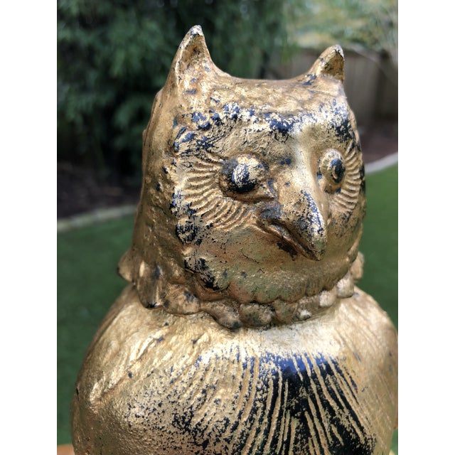 Toyo Toyo Japan Mid-Century Gilded Iron Owl Lidded Vessel For Sale - Image 4 of 11