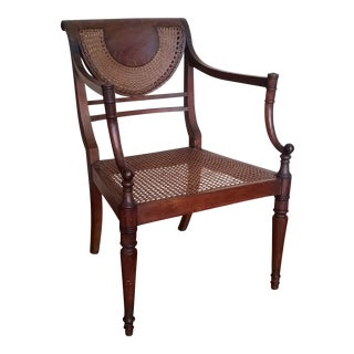 Antique Sheraton Federal Fan Back Cane Armchair With Cushion For Sale