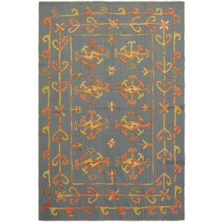 Embroidered Ikat Kilim Conway Blue Wool Rug- 5′11″ × 8′ For Sale