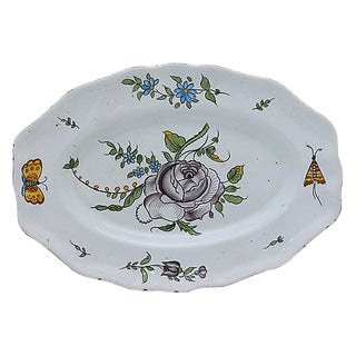 18th Century French Faience Plate W/Bugs For Sale