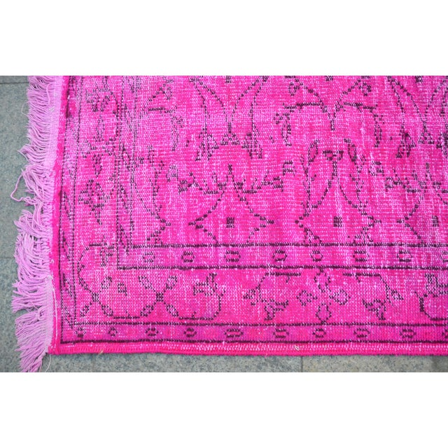 Fuscia Overdyed Floor Rug - 5′11″ × 8′11″ For Sale In Austin - Image 6 of 6