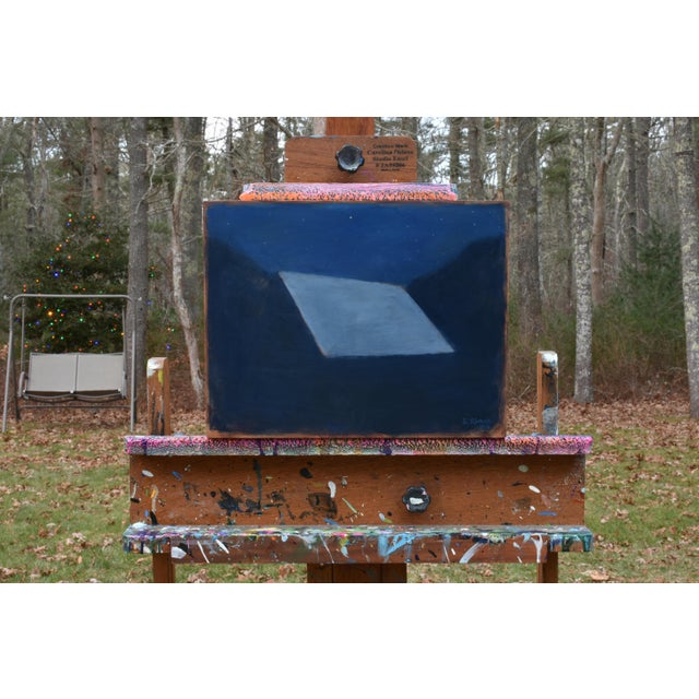 """Titled """"Shelter"""". The abstract beauty of a moonlit roof under a starry sky. This is professional grade acrylic paint on a..."""