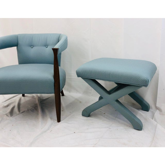 Mid 20th Century Vintage Mid Century Modern Arm Chair & Ottoman For Sale - Image 5 of 13