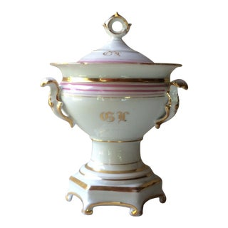 Antique French Porcelain, Pink & Gold Footed Sauce Tureen For Sale