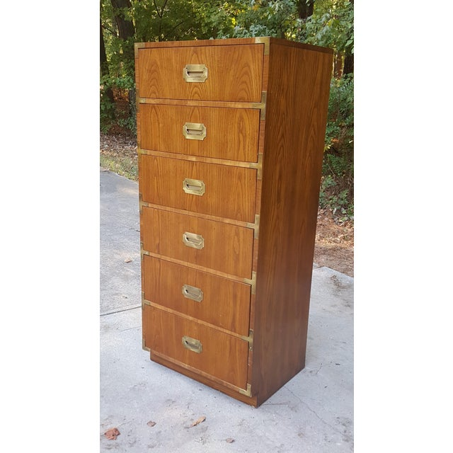 Vintage Dixie Campaign Style Lingerie Chest of Drawers For Sale - Image 9 of 10