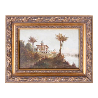 Orientalist Oil Painting on Canvas of an Indian Landscape For Sale