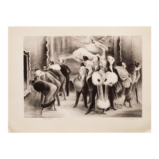 "1930s Vintage Black & White Lithograph ""Art Lovers"" by A.Dehn"
