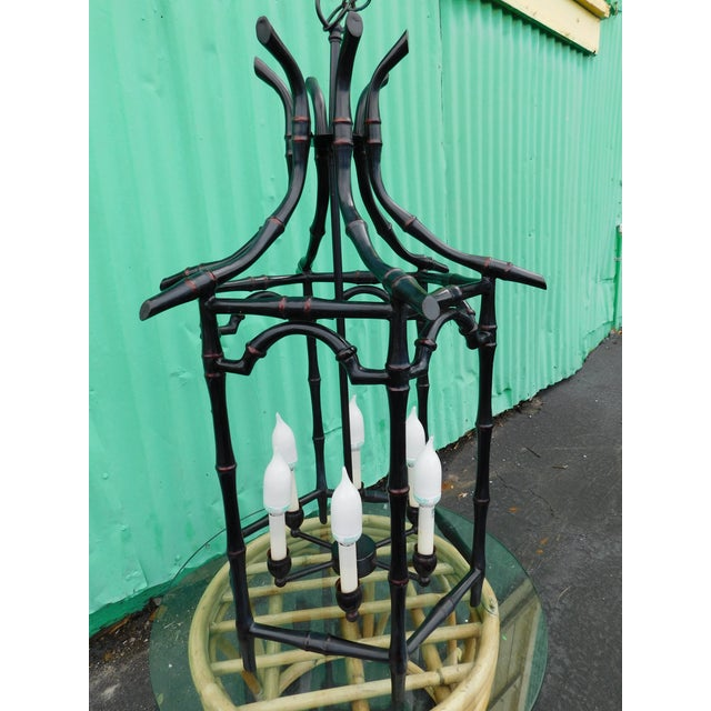 Asian Pagoda Faux Bamboo Chandelier For Sale - Image 3 of 8
