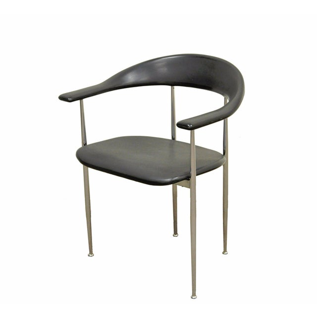 Vintage Mid Century Modern Fasem Chrome & Molded Vinyl Italian Desk Arm Chair For Sale - Image 11 of 11