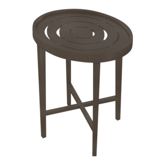Oomph On the Rocks Oval Outdoor Side Table, Dark Gray For Sale