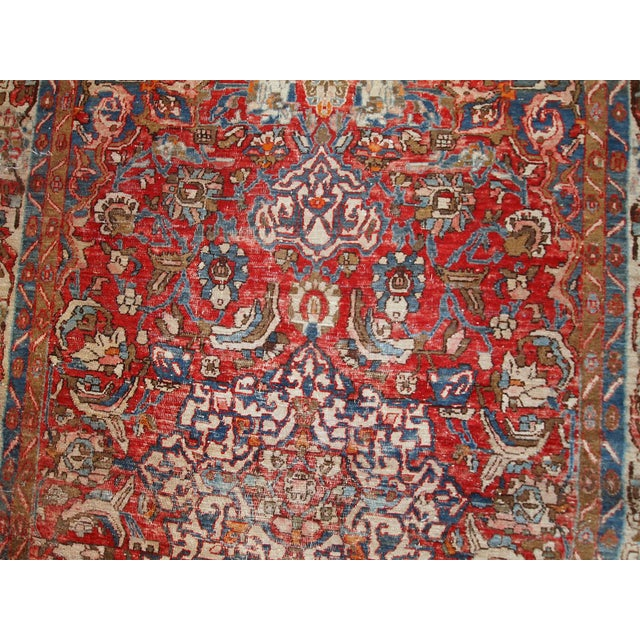 1900 - 1909 1900s, Handmade Antique Persian Mahal Distressed Rug 4.6' X 6.5' For Sale - Image 5 of 10