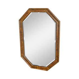 Henredon Charles X Collection Burl Wood Frame Beveled Wall Mirror For Sale