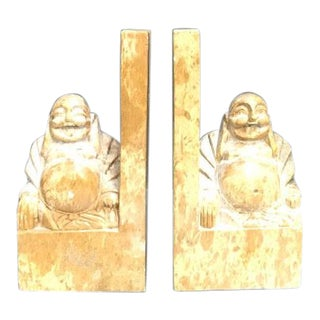 Marble Buddha Bookends - a Pair For Sale