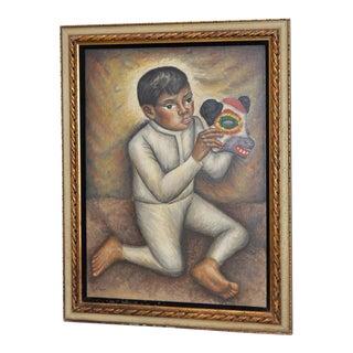 Jesus Ortiz Tajonar (1919-1990) Mexican Boy W/ Papier-Mâché Animal Warrior Mask C.1950s
