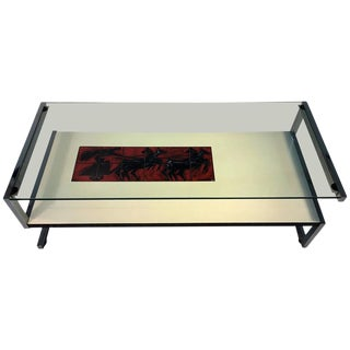 AMAZING ITALIAN MODERNIST TILE AND LAMINATE CHROME FRAME COFFEE TABLE For Sale