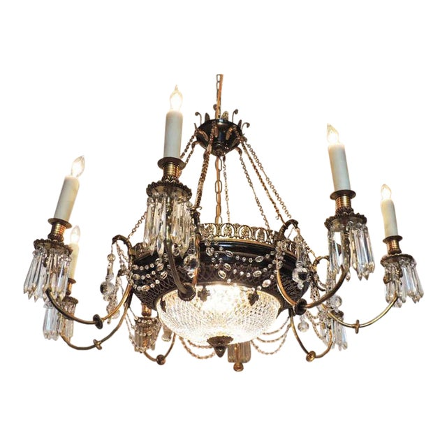 Late 19th C French Empire Bronze and Crystal Chandelier For Sale