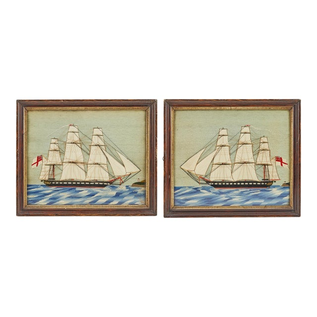Pair of British Sailor's Woolworks Depicting a Royal Navy Ship Leaving and Arriving at the Same Port, Circa 1865-75 For Sale