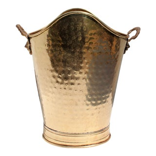 1950s Solid Brass Cache Pot With Lion's Handles For Sale