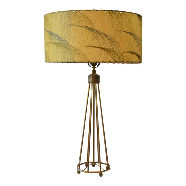 Atomic Modern Wire Frame Lamp and Shade For Sale