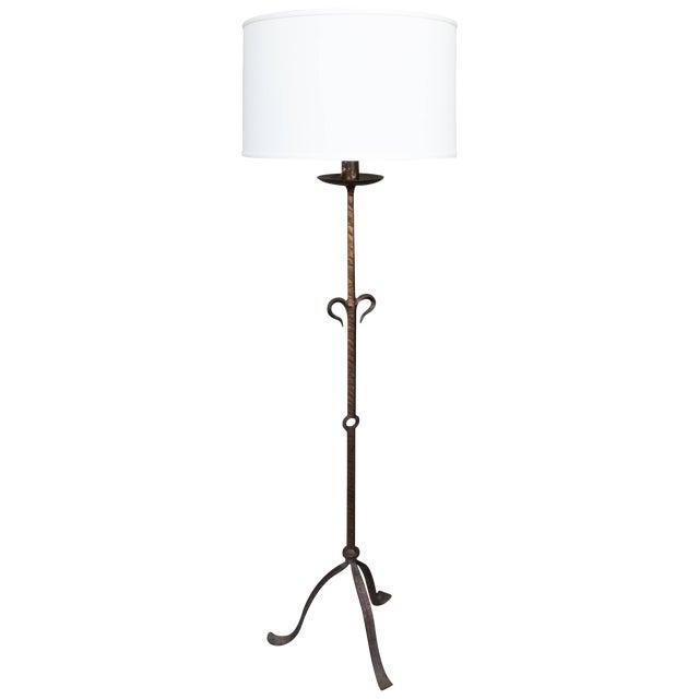 1950s Spanish Wrought Iron Floor Lamp For Sale