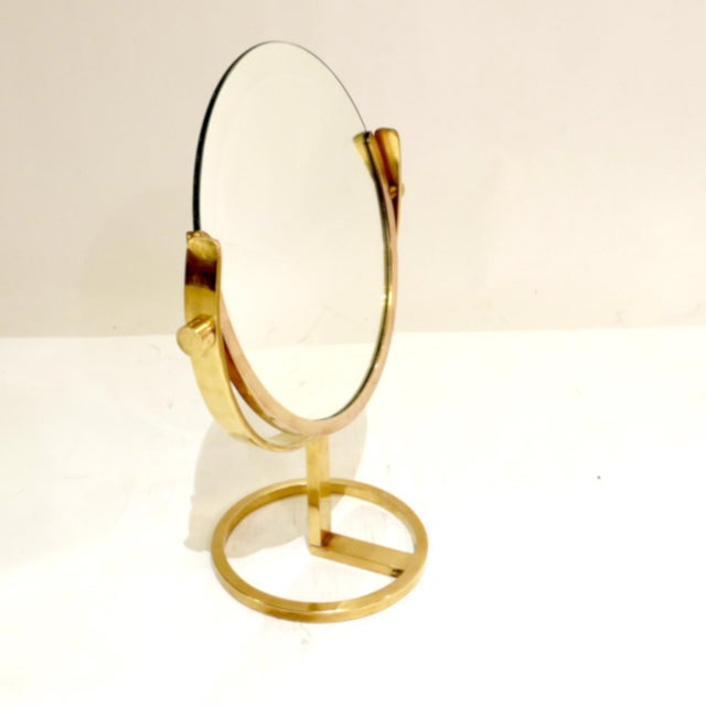 Mid-Century Modern Brass Vanity Table Top Mirror by Charles Hollis Jones For Sale - Image 3 of 7