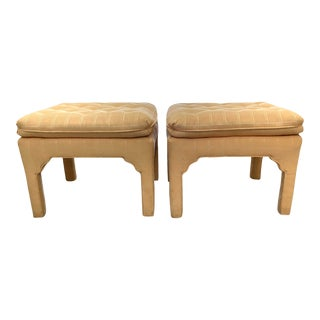 Pair Upholstered Pillow Top Tufted Moroccan Detailed Stools For Sale