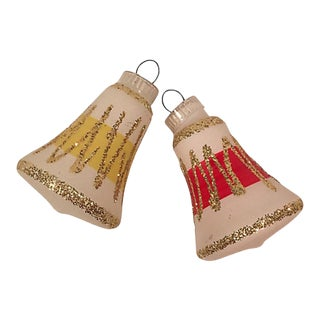1960s Glittered Bell Ornaments S/2 For Sale