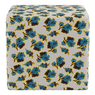 Cube Ottoman in Acid Floral For Sale