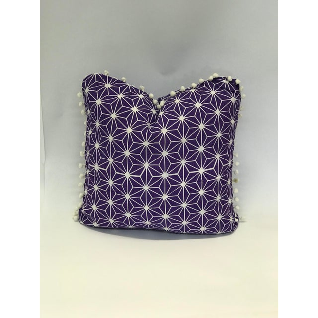 Handmade item. Made from cotton designer fabric. Decorative throw pillow cover in coastal purple and white Moroccan!...