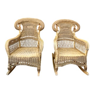 Set of Two Antique Ornate Wicker Rocking Chairs, a Pair For Sale